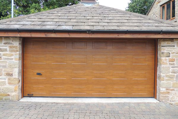 Golden oak Georgian double garage door