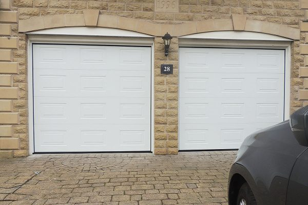 Pair of white Georgian single garage doors